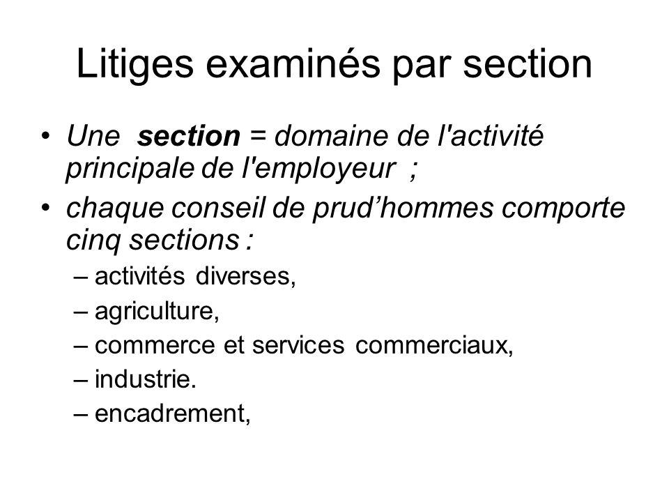Litiges examinés par section Une section = domaine de l activité principale de l employeur ; chaque conseil de prudhommes comporte cinq sections : –activités diverses, –agriculture, –commerce et services commerciaux, –industrie.