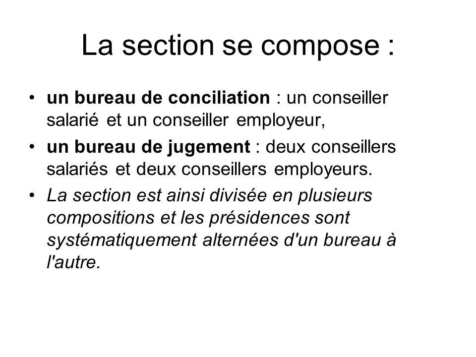 La section se compose : un bureau de conciliation : un conseiller salarié et un conseiller employeur, un bureau de jugement : deux conseillers salariés et deux conseillers employeurs.