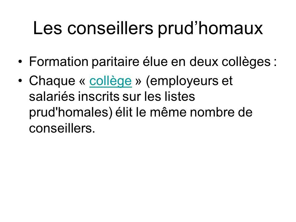 Les conseillers prudhomaux Formation paritaire élue en deux collèges : Chaque « collège » (employeurs et salariés inscrits sur les listes prud homales) élit le même nombre de conseillers.collège