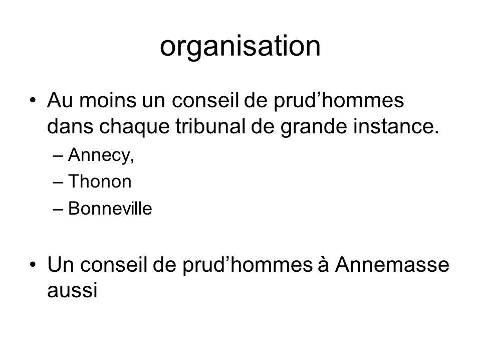 organisation Au moins un conseil de prudhommes dans chaque tribunal de grande instance. –Annecy, –Thonon –Bonneville Un conseil de prudhommes à Annema