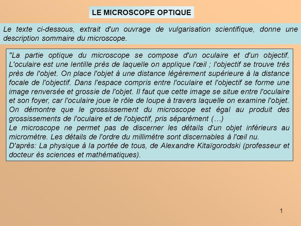 1 LE MICROSCOPE OPTIQUE Le texte ci-dessous, extrait d'un ouvrage de vulgarisation scientifique, donne une description sommaire du microscope.