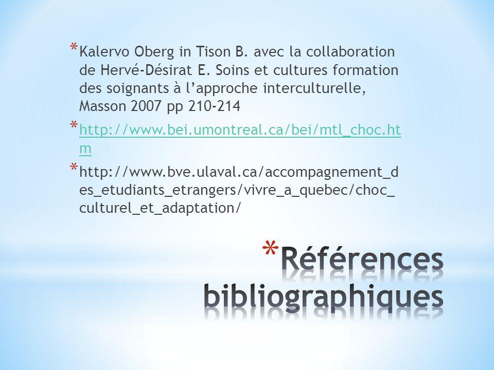 * Kalervo Oberg in Tison B. avec la collaboration de Hervé-Désirat E. Soins et cultures formation des soignants à lapproche interculturelle, Masson 20