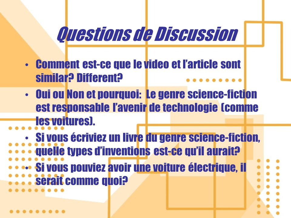 Questions de Discussion Comment est-ce que le video et larticle sont similar.