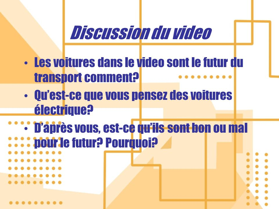 Discussion du video Les voitures dans le video sont le futur du transport comment.