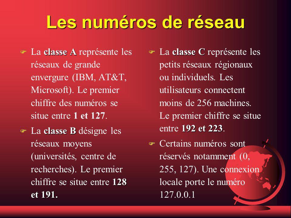 Les numéros de réseau Le numéros IP (Internet Protocole) sont répartis en trois classes selon le nombre dhôtes qui les composent.