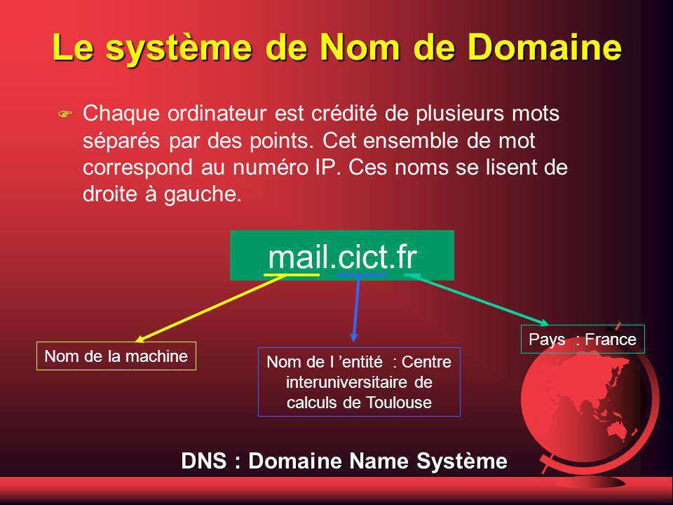 Les numéros de réseau F La classe AA AA représente les réseaux de grande envergure (IBM, AT&T, Microsoft). Le premier chiffre des numéros se situe ent