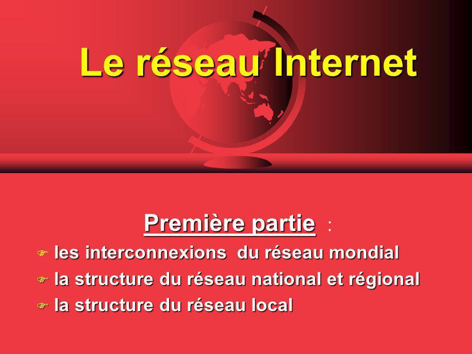 Le réseau Internet Première partie partie : F les interconnexions du réseau mondial Fla structure du réseau national et régional Fla structure du réseau local