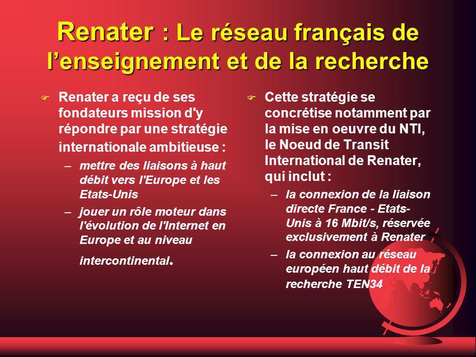 Renater : Le réseau français de lenseignement et de la recherche F Renater a reçu de ses fondateurs mission d y répondre par une stratégie internationale ambitieuse : –mettre des liaisons à haut débit vers l Europe et les Etats-Unis –jouer un rôle moteur dans l évolution de l Internet en Europe et au niveau intercontinental.