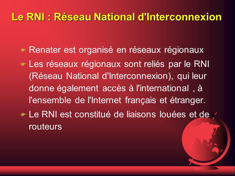 Le RNI : Réseau National d Interconnexion F Renater est organisé en réseaux régionaux F Les réseaux régionaux sont reliés par le RNI (Réseau National d Interconnexion), qui leur donne également accès à l international, à l ensemble de l Internet français et étranger.