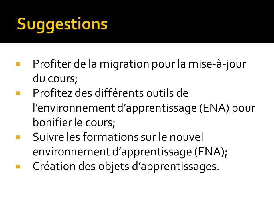 Profiter de la migration pour la mise-à-jour du cours; Profitez des différents outils de lenvironnement dapprentissage (ENA) pour bonifier le cours; S