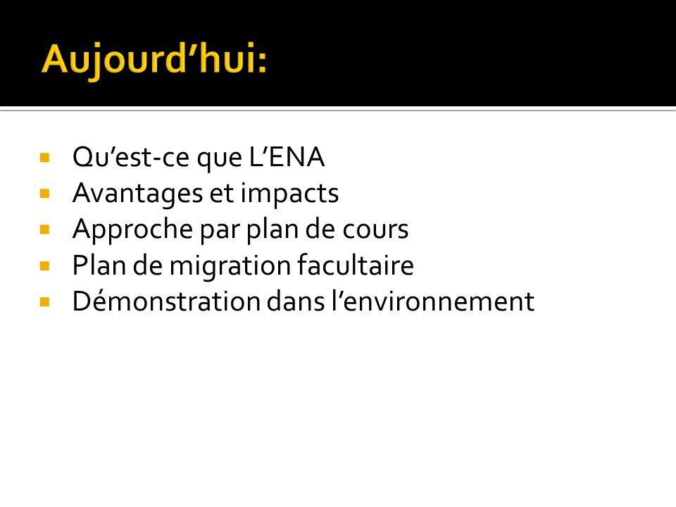 Le projet denvironnement numérique dapprentissage (ENA) vise la création dun portail pédagogique intégré qui permettra la conception et la diffusion des sites web de cours de lUniversité Laval.