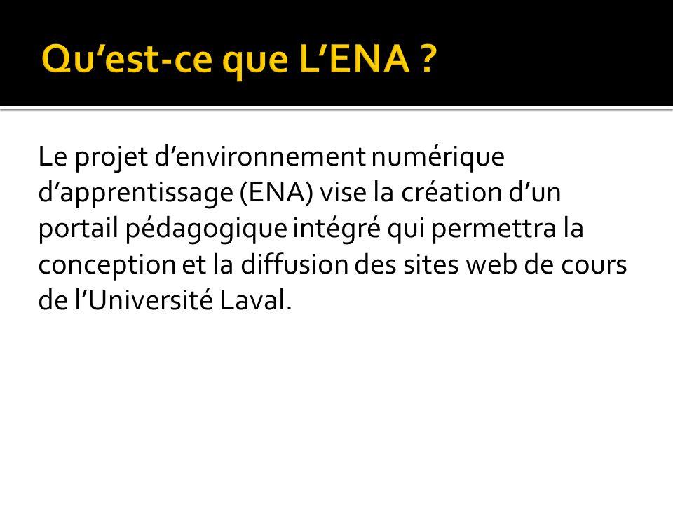 Le projet denvironnement numérique dapprentissage (ENA) vise la création dun portail pédagogique intégré qui permettra la conception et la diffusion d