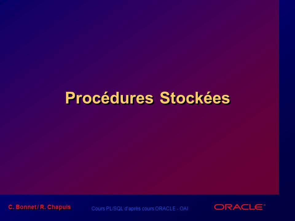 C. Bonnet / R. Chapuis Cours PL/SQL daprès cours ORACLE - OAI Procédures Stockées