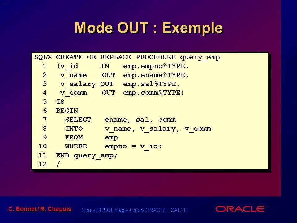 Cours PL/SQL daprès cours ORACLE - OAI / 11 C. Bonnet / R. Chapuis Mode OUT : Exemple SQL> CREATE OR REPLACE PROCEDURE query_emp 1 (v_id INemp.empno%T