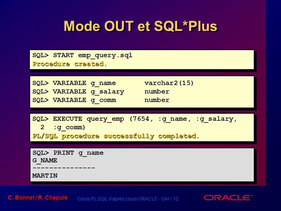 Cours PL/SQL daprès cours ORACLE - OAI / 12 C. Bonnet / R. Chapuis Mode OUT et SQL*Plus SQL> START emp_query.sql Procedure created. SQL> START emp_que