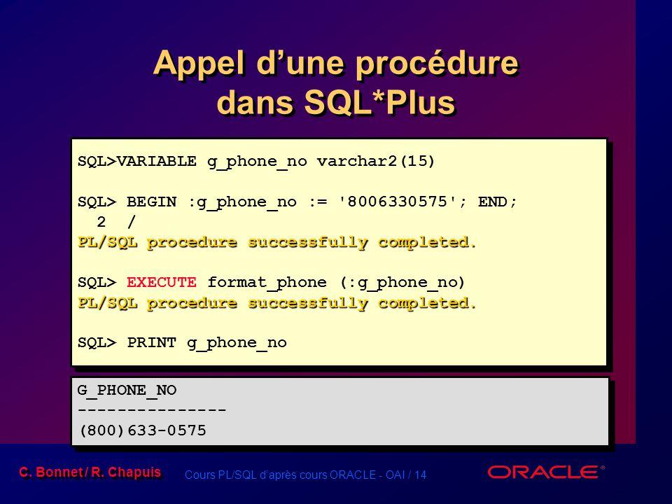 Cours PL/SQL daprès cours ORACLE - OAI / 14 C. Bonnet / R. Chapuis Appel dune procédure dans SQL*Plus SQL>VARIABLE g_phone_no varchar2(15) SQL> BEGIN