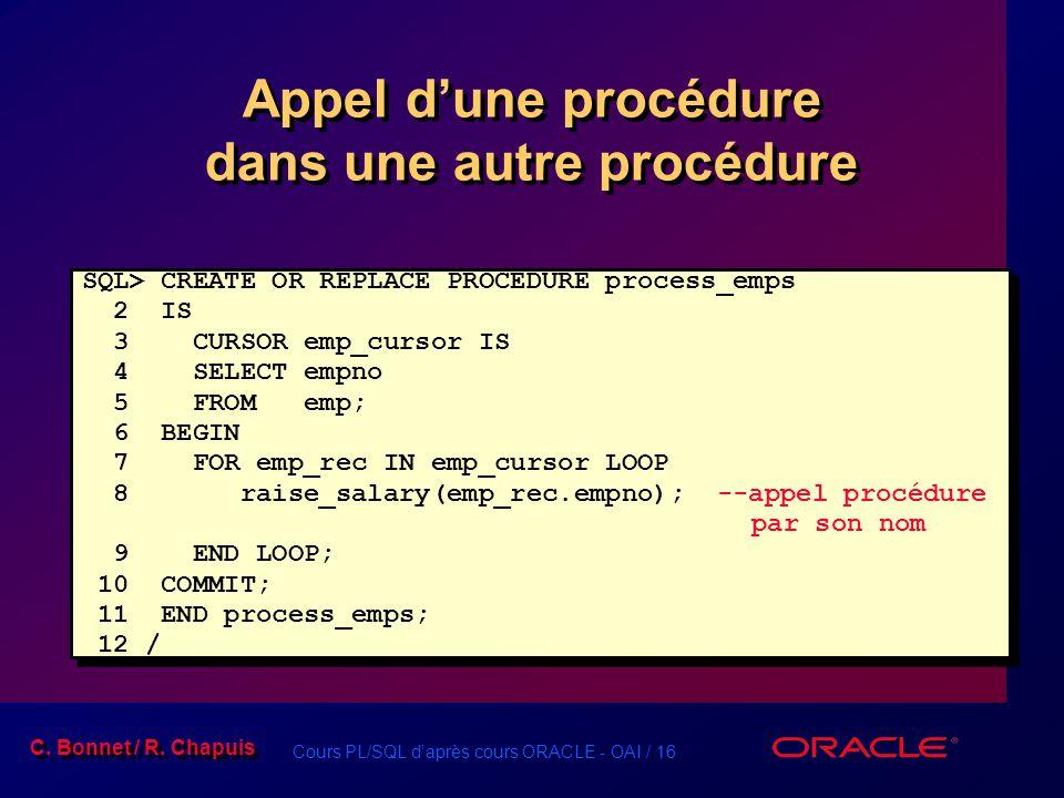 Cours PL/SQL daprès cours ORACLE - OAI / 16 C. Bonnet / R. Chapuis Appel dune procédure dans une autre procédure SQL> CREATE OR REPLACE PROCEDURE proc