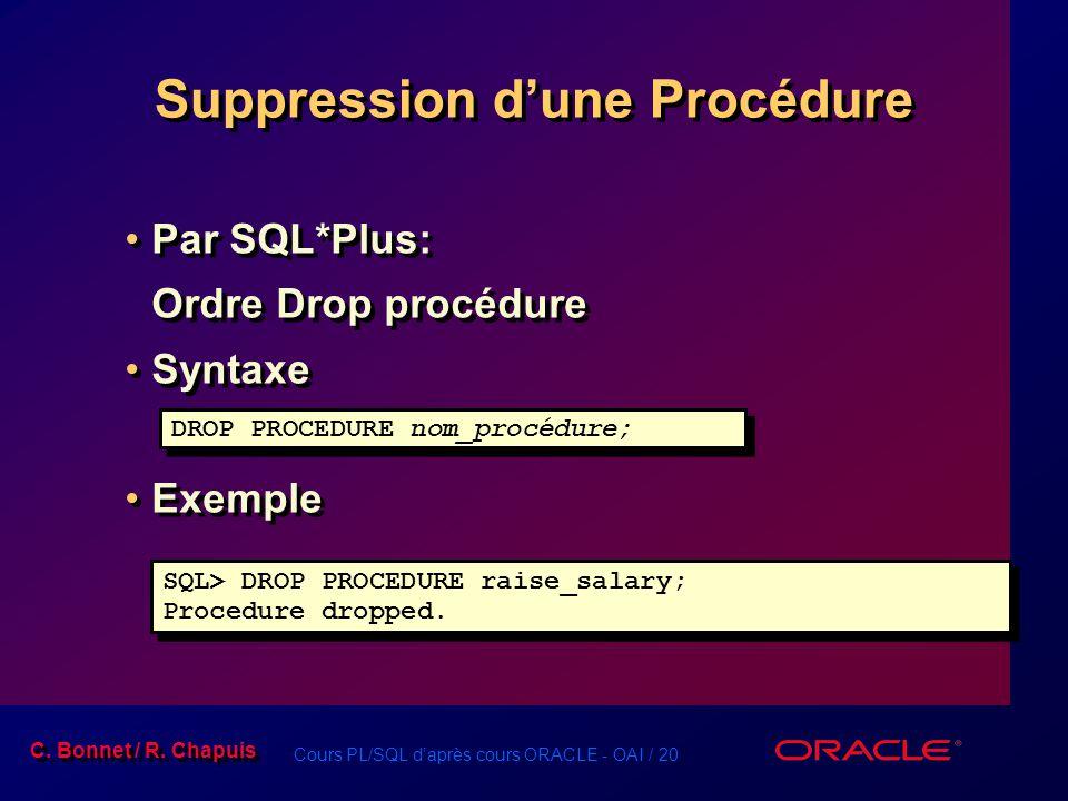 Cours PL/SQL daprès cours ORACLE - OAI / 20 C. Bonnet / R. Chapuis Suppression dune Procédure Par SQL*Plus: Ordre Drop procédure Syntaxe Exemple Par S