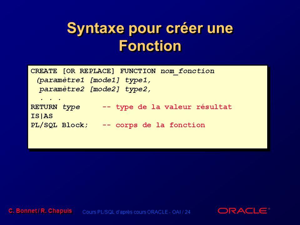 Cours PL/SQL daprès cours ORACLE - OAI / 24 C. Bonnet / R. Chapuis Syntaxe pour créer une Fonction CREATE [OR REPLACE] FUNCTION nom_fonction (paramètr
