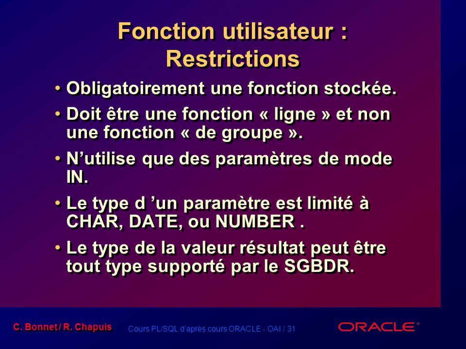 Cours PL/SQL daprès cours ORACLE - OAI / 31 C. Bonnet / R. Chapuis Fonction utilisateur : Restrictions Obligatoirement une fonction stockée. Doit être