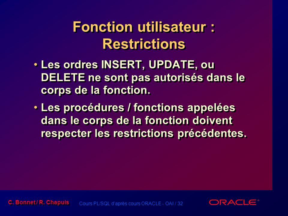 Cours PL/SQL daprès cours ORACLE - OAI / 32 C. Bonnet / R. Chapuis Fonction utilisateur : Restrictions Les ordres INSERT, UPDATE, ou DELETE ne sont pa