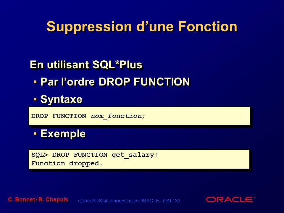 Cours PL/SQL daprès cours ORACLE - OAI / 33 C.Bonnet / R.