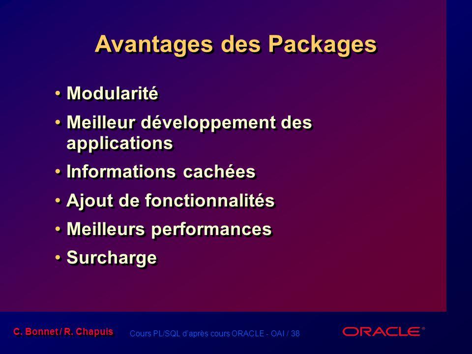 Cours PL/SQL daprès cours ORACLE - OAI / 38 C. Bonnet / R. Chapuis Avantages des Packages Modularité Meilleur développement des applications Informati