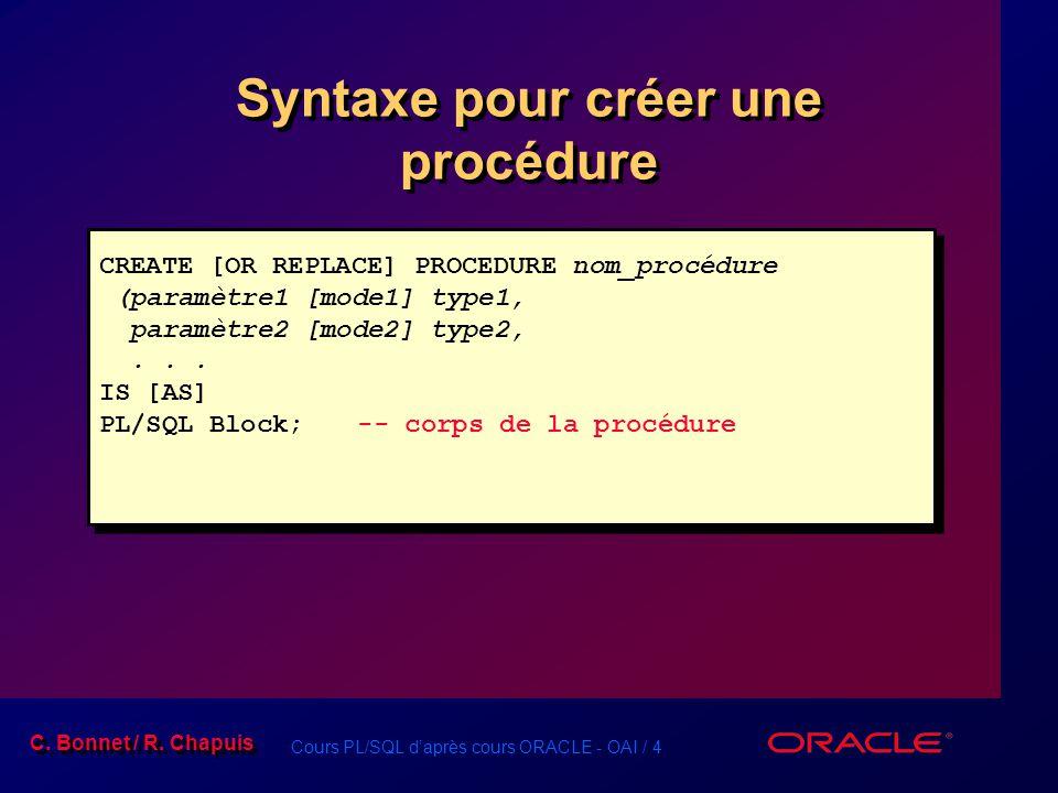 Cours PL/SQL daprès cours ORACLE - OAI / 4 C. Bonnet / R. Chapuis Syntaxe pour créer une procédure CREATE [OR REPLACE] PROCEDURE nom_procédure (paramè