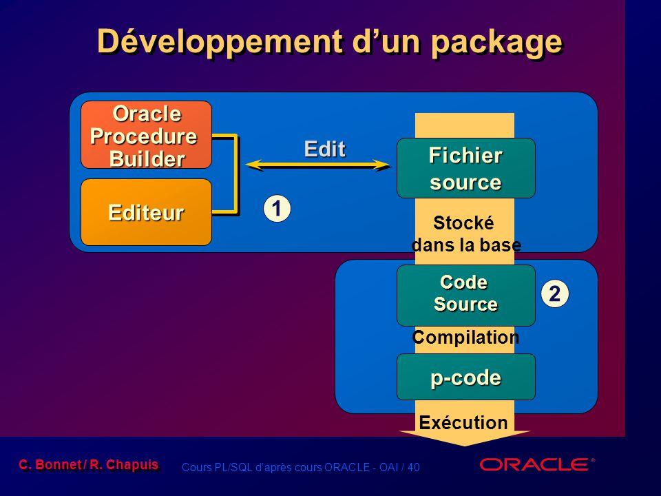 Cours PL/SQL daprès cours ORACLE - OAI / 40 C. Bonnet / R. Chapuis Développement dun package Fichier source Code Source p-code Edit Stocké dans la bas