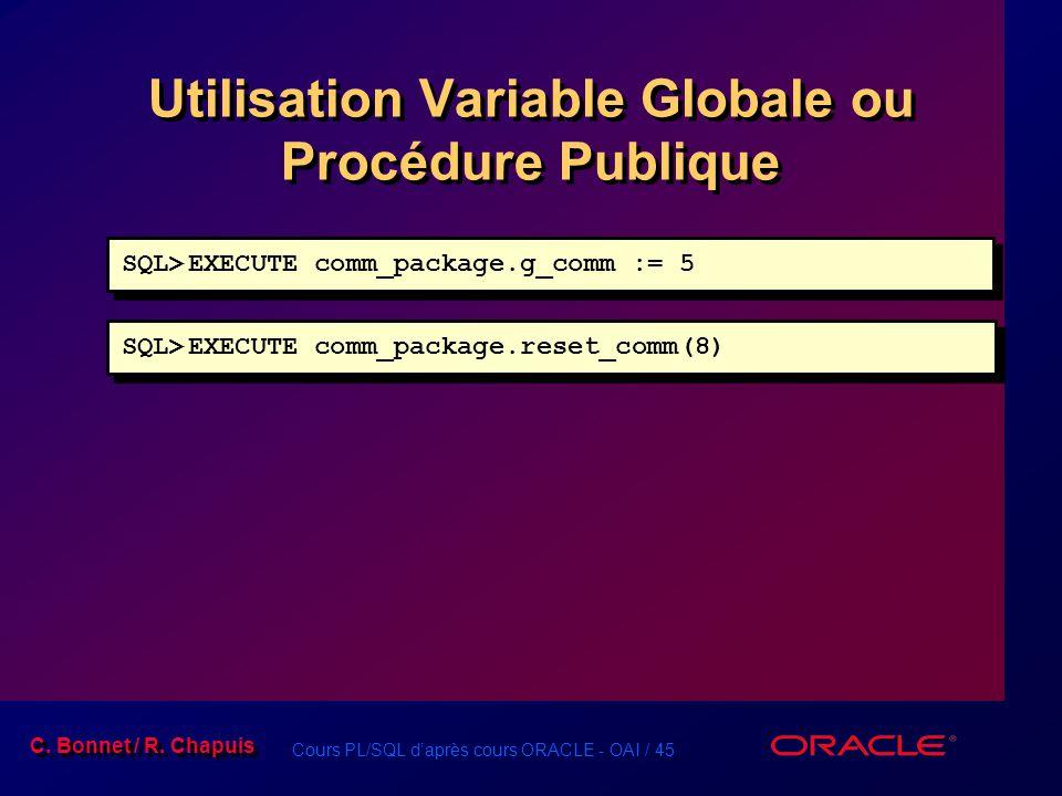 Cours PL/SQL daprès cours ORACLE - OAI / 45 C. Bonnet / R. Chapuis Utilisation Variable Globale ou Procédure Publique SQL>EXECUTE comm_package.g_comm