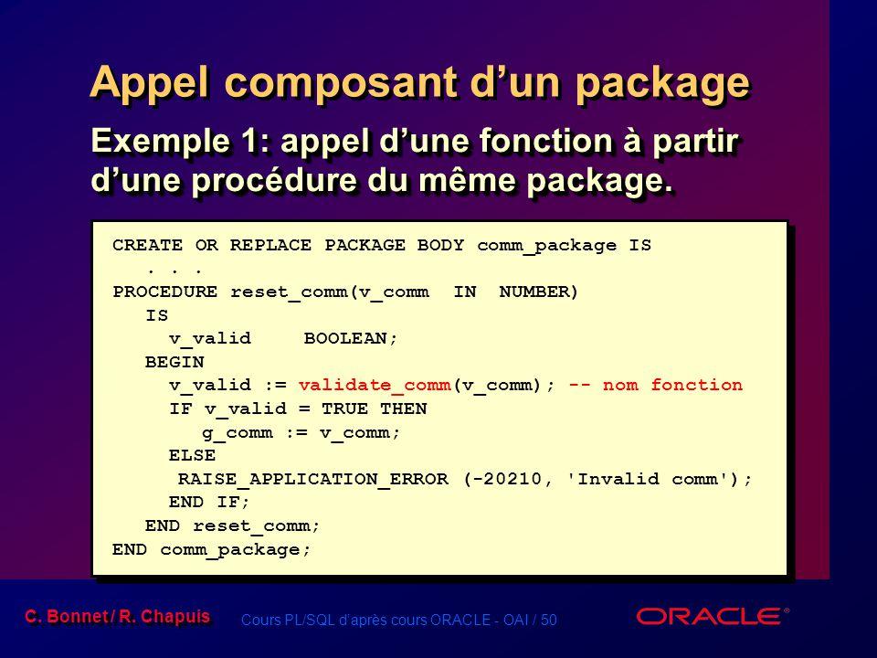 Cours PL/SQL daprès cours ORACLE - OAI / 50 C. Bonnet / R. Chapuis Appel composant dun package Exemple 1: appel dune fonction à partir dune procédure