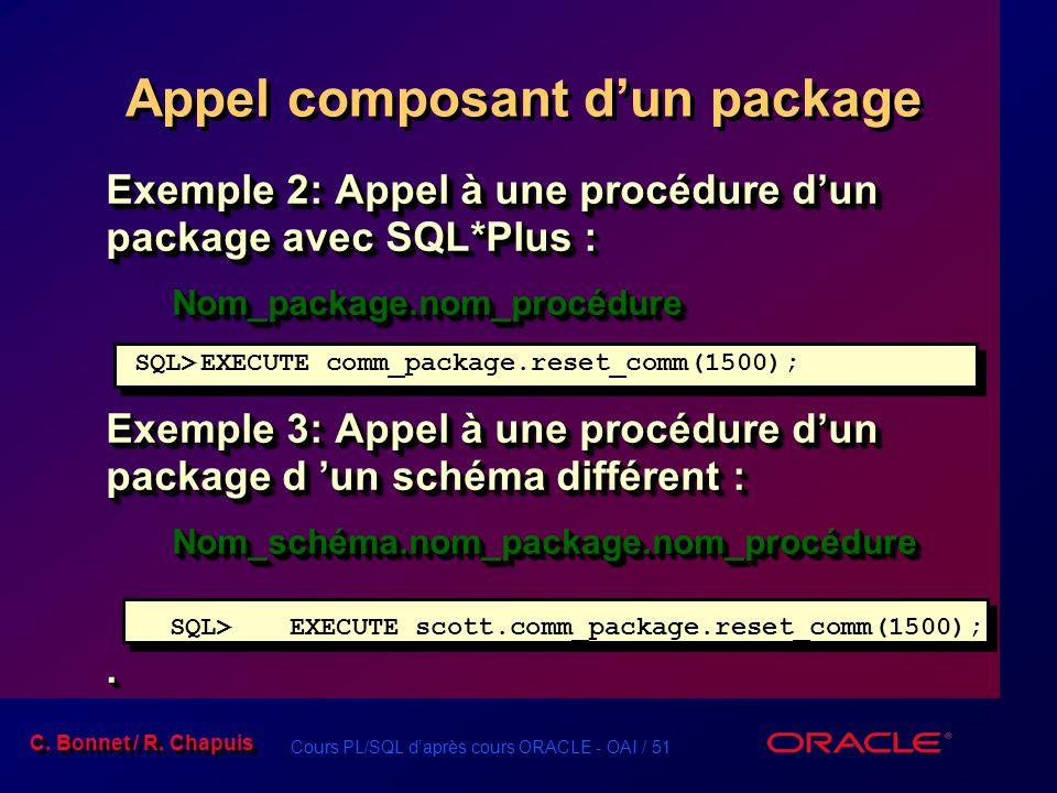 Cours PL/SQL daprès cours ORACLE - OAI / 51 C. Bonnet / R. Chapuis Exemple 2: Appel à une procédure dun package avec SQL*Plus : Nom_package.nom_procéd