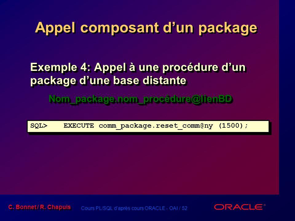 Cours PL/SQL daprès cours ORACLE - OAI / 52 C. Bonnet / R. Chapuis Appel composant dun package SQL>EXECUTE comm_package.reset_comm@ny (1500); Exemple