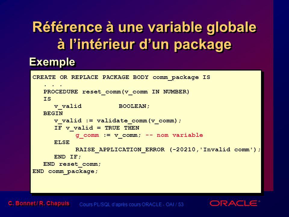 Cours PL/SQL daprès cours ORACLE - OAI / 53 C. Bonnet / R. Chapuis Référence à une variable globale à lintérieur dun package ExempleExemple CREATE OR