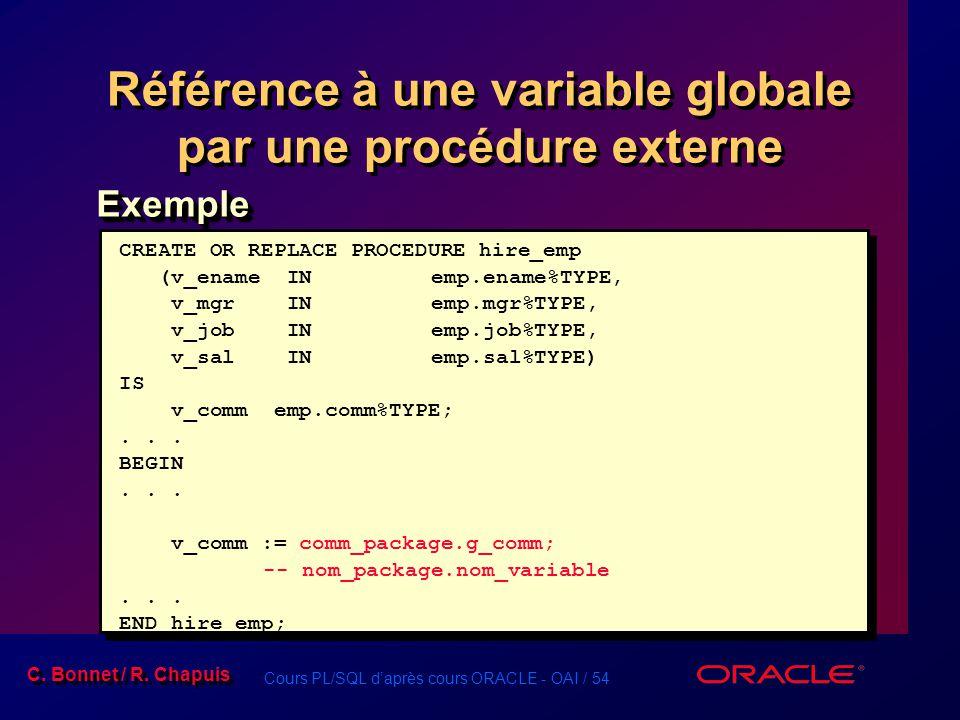 Cours PL/SQL daprès cours ORACLE - OAI / 54 C. Bonnet / R. Chapuis Référence à une variable globale par une procédure externe ExempleExemple CREATE OR