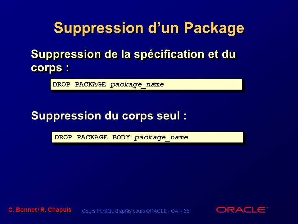 Cours PL/SQL daprès cours ORACLE - OAI / 55 C. Bonnet / R. Chapuis DROP PACKAGE package_name Suppression dun Package Suppression de la spécification e