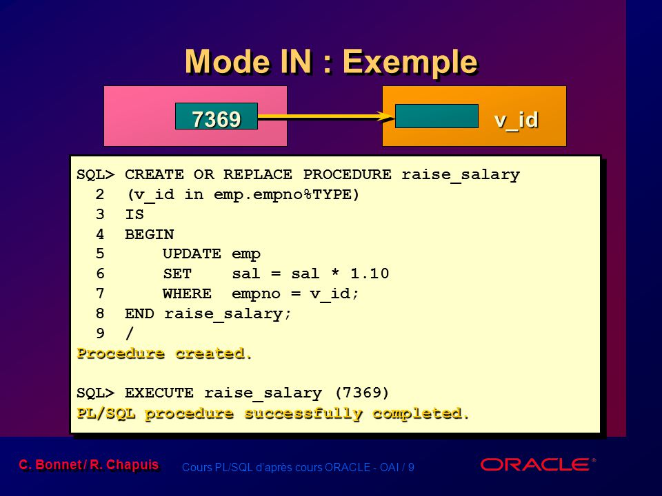 Cours PL/SQL daprès cours ORACLE - OAI / 10 C.Bonnet / R.