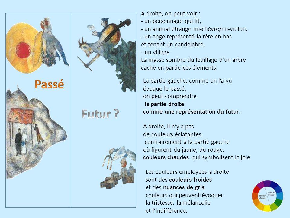 A droite, on peut voir : - un personnage qui lit, - un animal étrange mi-chèvre/mi-violon, - un ange représenté la tête en bas et tenant un candélabre