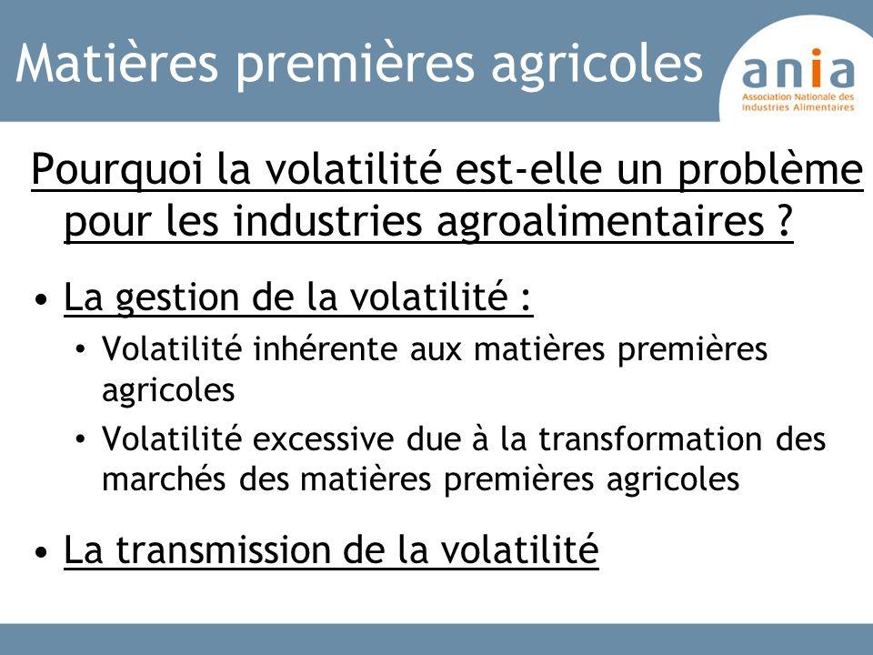Matières premières agricoles Pourquoi la volatilité est-elle un problème pour les industries agroalimentaires ? La gestion de la volatilité : Volatili