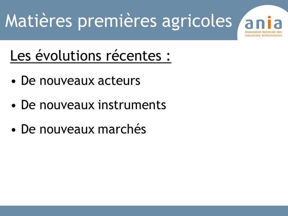 Matières premières agricoles Les évolutions récentes : De nouveaux acteurs De nouveaux instruments De nouveaux marchés