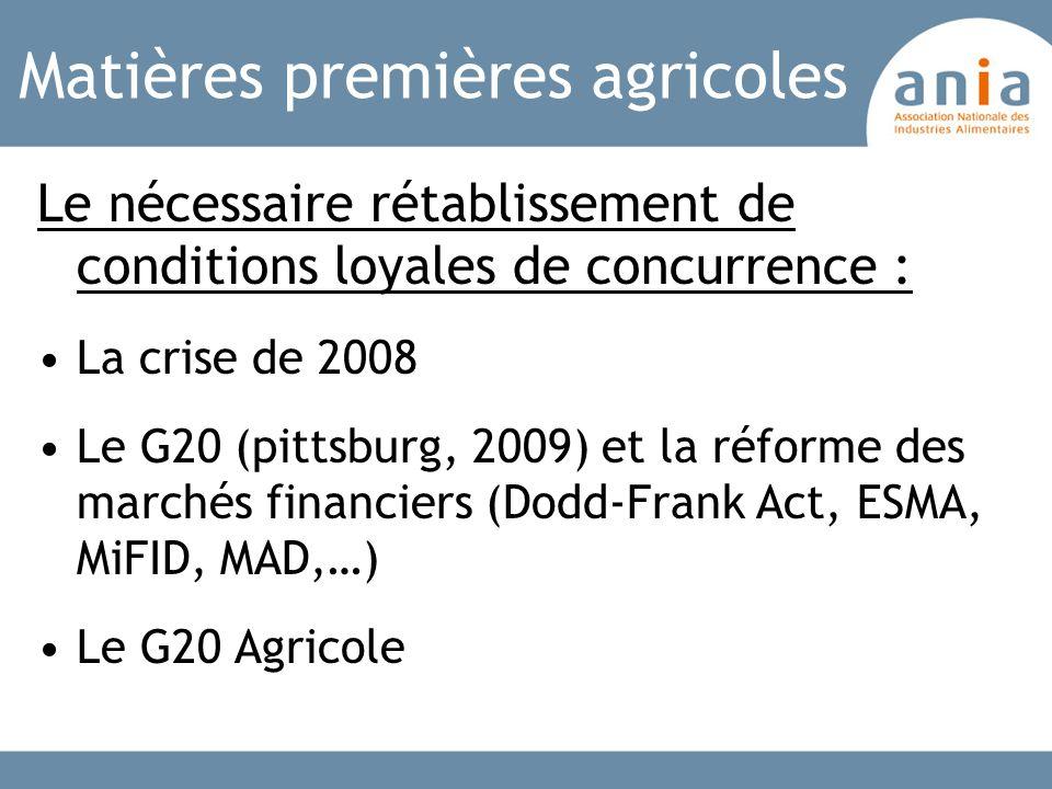 Matières premières agricoles Le nécessaire rétablissement de conditions loyales de concurrence : La crise de 2008 Le G20 (pittsburg, 2009) et la réfor