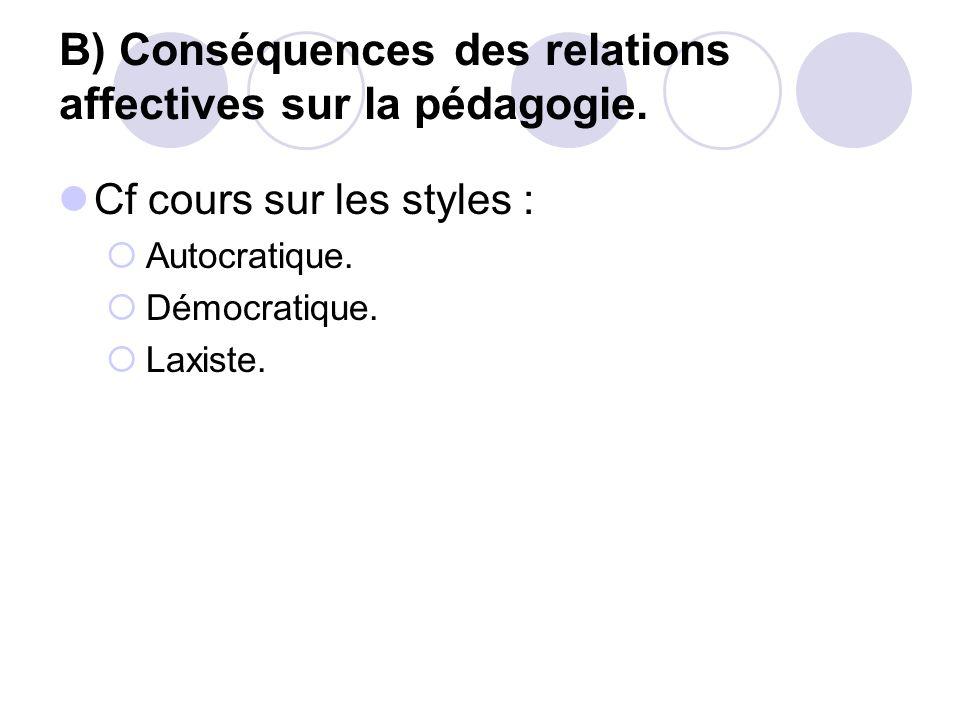 B) Conséquences des relations affectives sur la pédagogie.