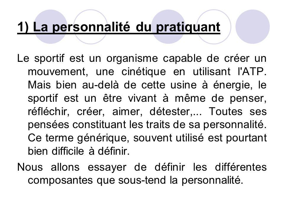 1) La personnalité du pratiquant Le sportif est un organisme capable de créer un mouvement, une cinétique en utilisant l ATP.