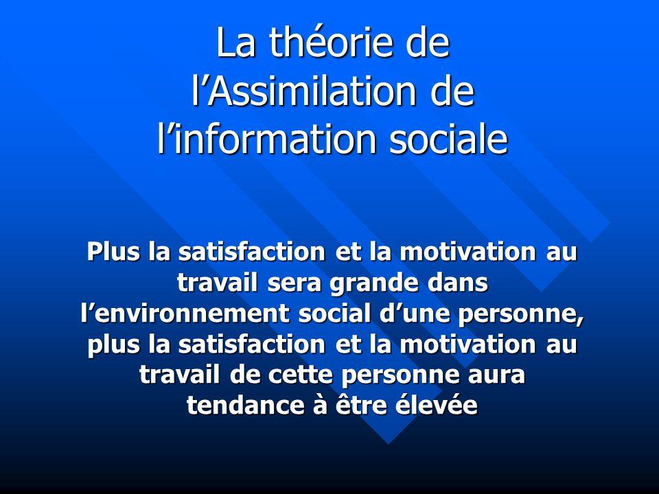 Plus la satisfaction et la motivation au travail sera grande dans lenvironnement social dune personne, plus la satisfaction et la motivation au travai
