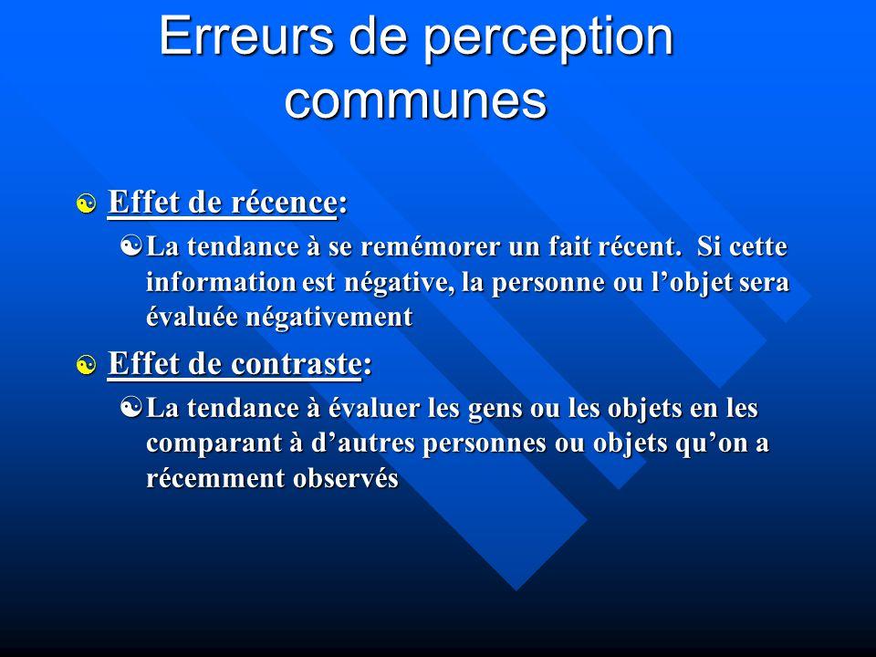 Erreurs de perception communes [ Effet de récence: [La tendance à se remémorer un fait récent. Si cette information est négative, la personne ou lobje