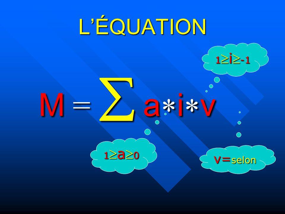 LÉQUATION M = aiv 1a 0 1i -1 v= selon