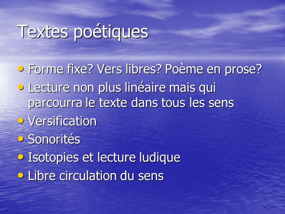 Textes poétiques Forme fixe.Vers libres. Poème en prose.