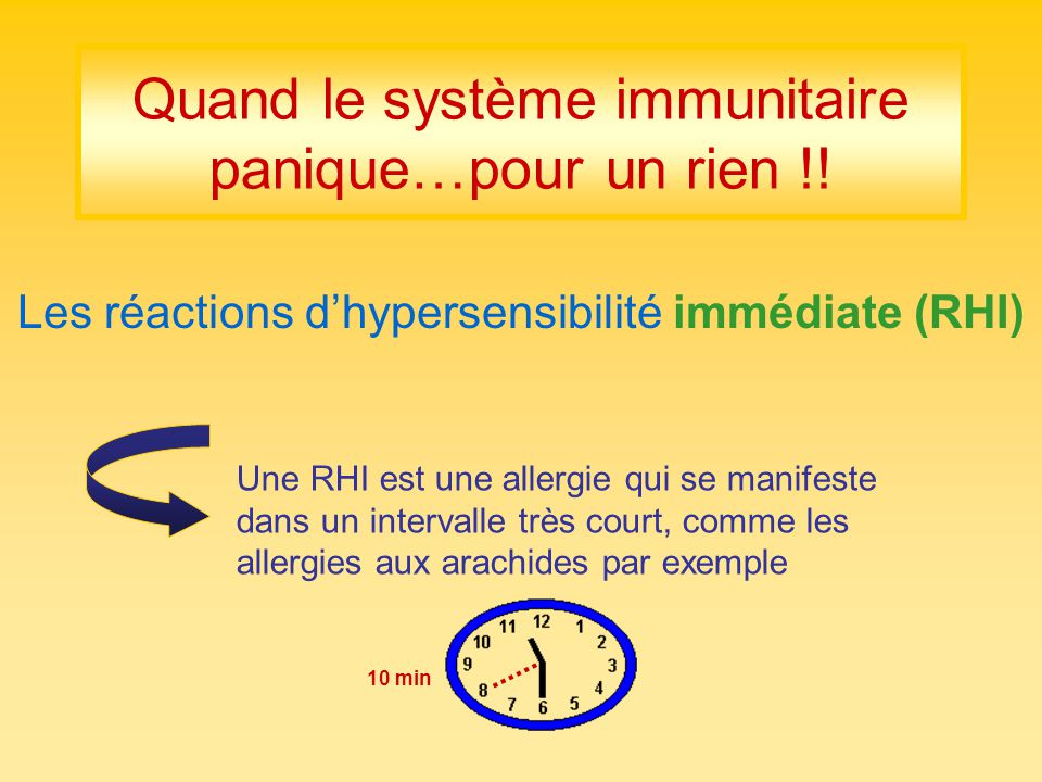 Quand le système immunitaire panique…pour un rien !! Les réactions dhypersensibilité immédiate (RHI) 10 min Une RHI est une allergie qui se manifeste