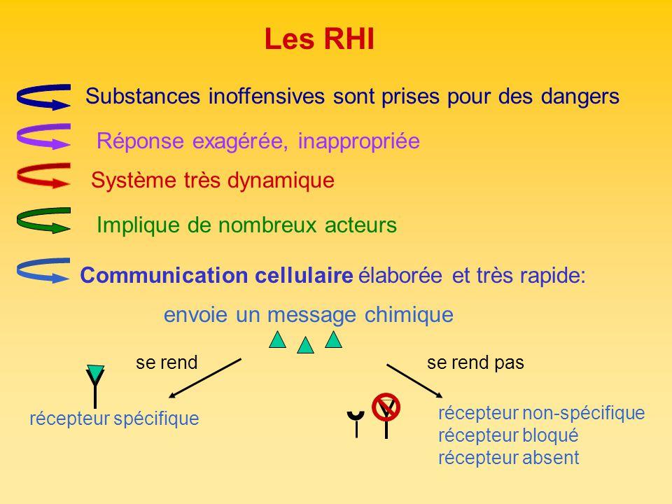 Les RHI Système très dynamique Implique de nombreux acteurs Communication cellulaire élaborée et très rapide: récepteur non-spécifique récepteur bloqu