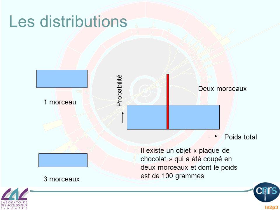 Les distributions Il existe un objet « plaque de chocolat » qui a été coupé en deux morceaux et dont le poids est de 100 grammes Poids total Probabili